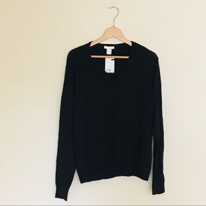 H&M Solid Black Long Sleeve Button Cardigan XXL